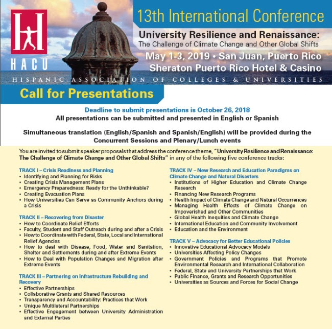 Call for Presentations - Submit proposals by Oct  26 for HACU's