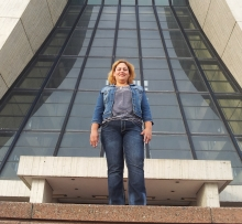 Science Teacher, Elba Sepúlveda, in front of Fermilab